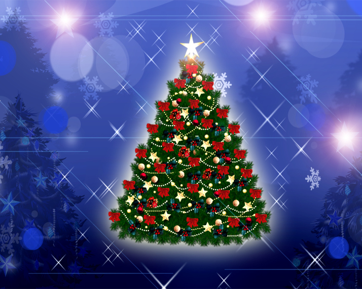 10 Christmas Wallpapers Free Tree With Lights And Balls Blue Background Wallpaper