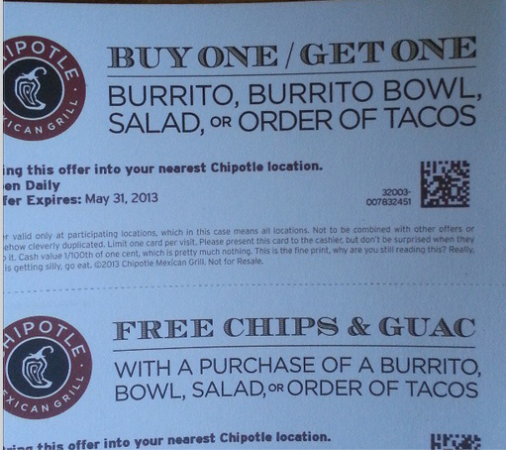 photo about Chipotle Printable Coupon identify Order the Burrito