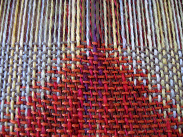 double-weave-coral-scarf-work-in-progress-on-the-loom
